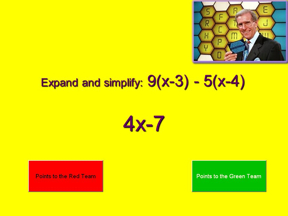 Expand and simplify: 9(x-3) - 5(x-4) 4x-7