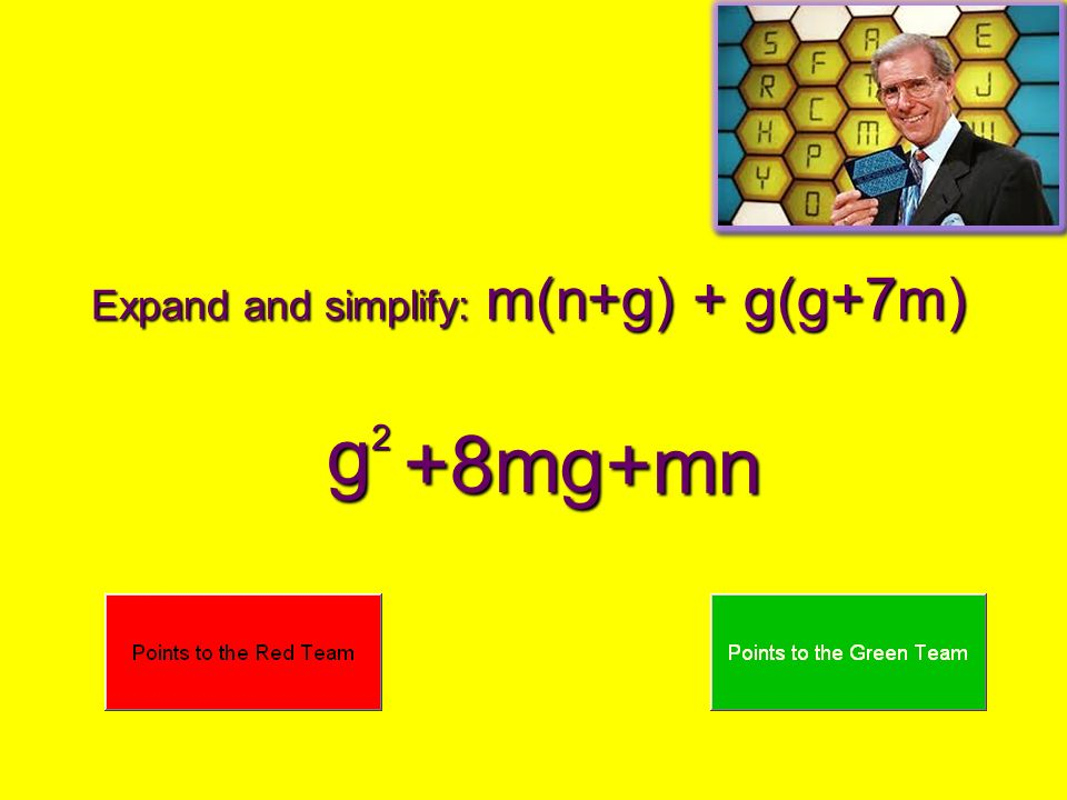 Expand and simplify: m(n+g) + g(g+7m) g2 +8mg +mn