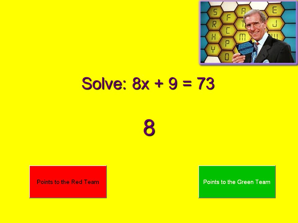 Solve: 8x - 6 = 50 7
