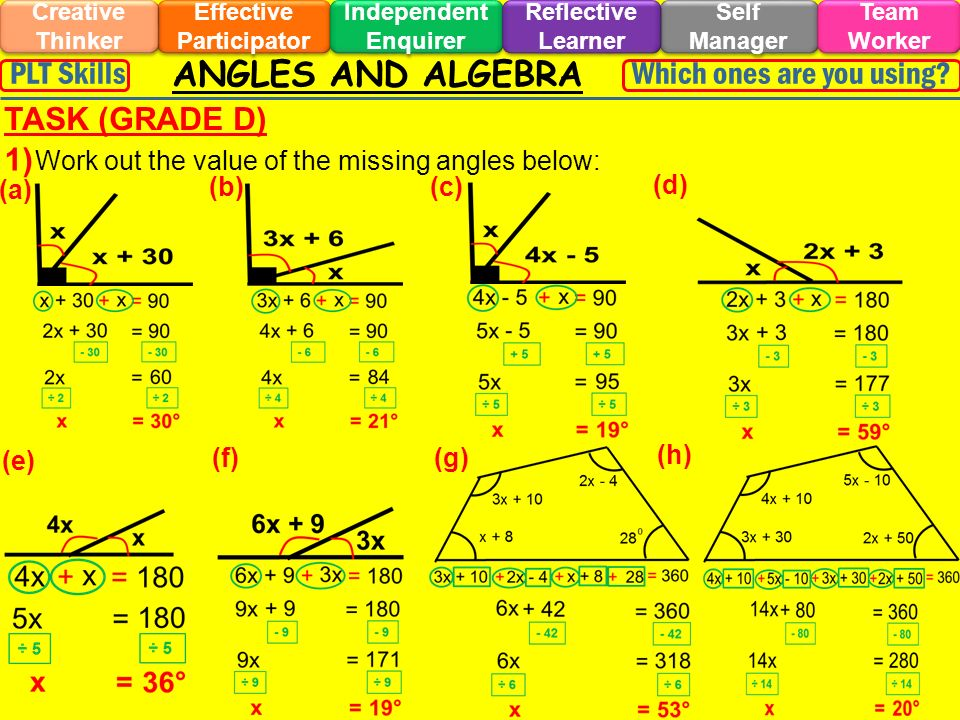 ANGLES AND ALGEBRA Effective Participator Self Manager Independent Enquirer Creative Thinker Team Worker Reflective Learner Which ones are you using?PLT Skills EXTENSION 1 (GRADE D) (a) (b) (c) (d) (e) (f) 1) Work out the value of the missing angles below: 70°