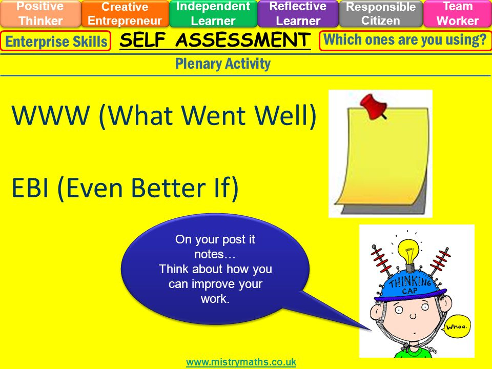 SELF ASSESSMENT Plenary Activity On your post it notes… Think about how you can improve your work.