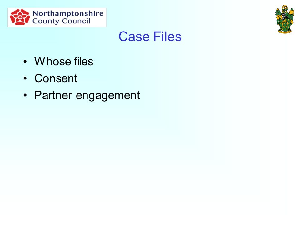 Case Files Whose files Consent Partner engagement