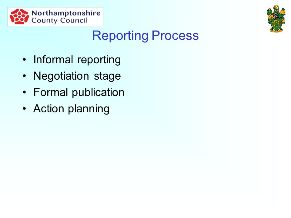 Reporting Process Informal reporting Negotiation stage Formal publication Action planning