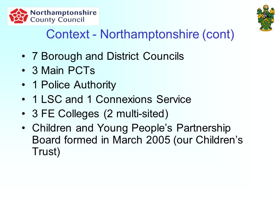 Context - Northamptonshire (cont) 7 Borough and District Councils 3 Main PCTs 1 Police Authority 1 LSC and 1 Connexions Service 3 FE Colleges (2 multi-sited) Children and Young Peoples Partnership Board formed in March 2005 (our Childrens Trust)