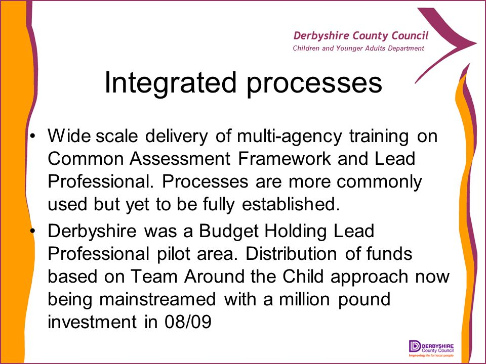 Children and Younger Adults Department Integrated processes Wide scale delivery of multi-agency training on Common Assessment Framework and Lead Profe
