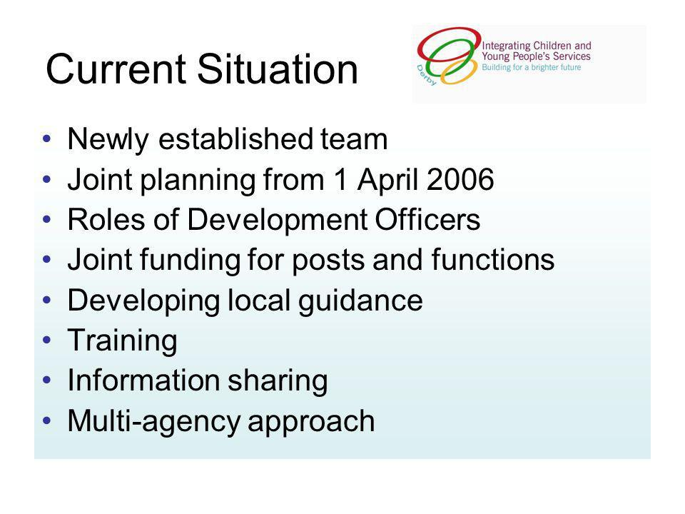 Current Situation Newly established team Joint planning from 1 April 2006 Roles of Development Officers Joint funding for posts and functions Developi
