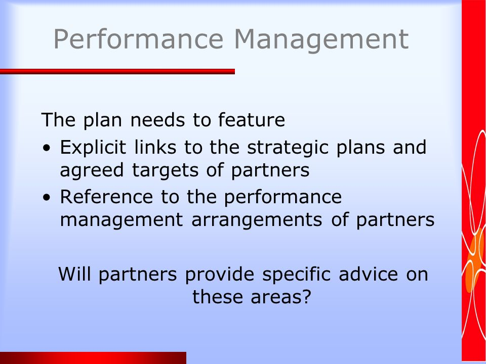 Performance Management The plan needs to feature Explicit links to the strategic plans and agreed targets of partners Reference to the performance management arrangements of partners Will partners provide specific advice on these areas