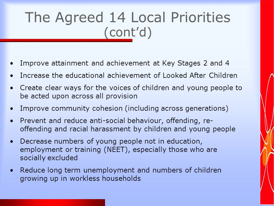 The Agreed 14 Local Priorities (contd) Improve attainment and achievement at Key Stages 2 and 4 Increase the educational achievement of Looked After Children Create clear ways for the voices of children and young people to be acted upon across all provision Improve community cohesion (including across generations) Prevent and reduce anti-social behaviour, offending, re- offending and racial harassment by children and young people Decrease numbers of young people not in education, employment or training (NEET), especially those who are socially excluded Reduce long term unemployment and numbers of children growing up in workless households