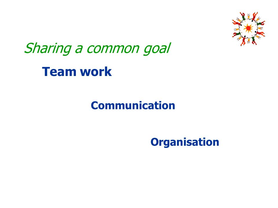 Sharing a common goal Organisation Communication Team work