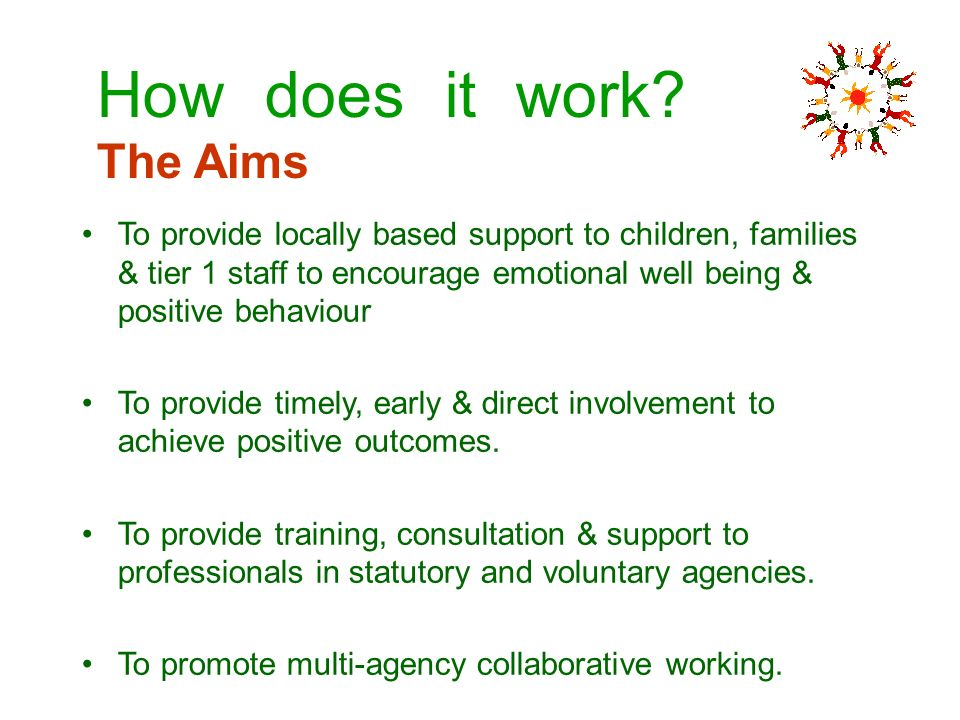 To provide locally based support to children, families & tier 1 staff to encourage emotional well being & positive behaviour To provide timely, early
