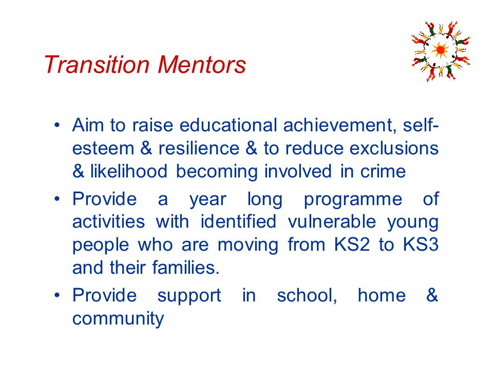 Transition Mentors Aim to raise educational achievement, self- esteem & resilience & to reduce exclusions & likelihood becoming involved in crime Prov