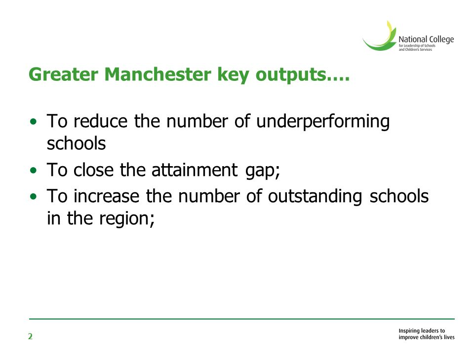 2 Greater Manchester key outputs….