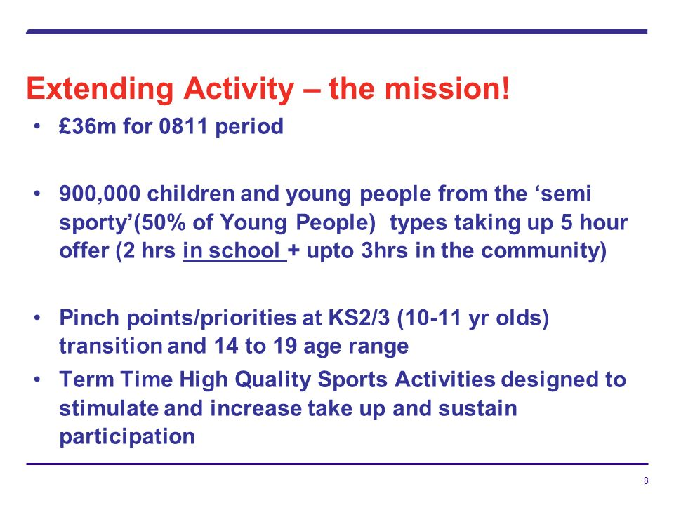 8 Extending Activity – the mission.