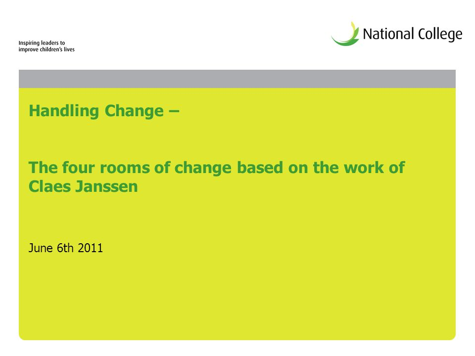 Handling Change – The four rooms of change based on the work of Claes Janssen June 6th 2011