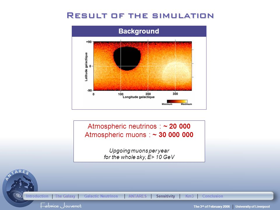 Fabrice Jouvenot University of Liverpool The 3 rd of February 2006 Result of the simulation Galactic neutrinos : ~ 1 to 40 Upgoing muons per year for the whole sky, E> 10 GeV Atmospheric neutrinos : ~ 20 000 Atmospheric muons : ~ 30 000 000 Upgoing muons per year for the whole sky, E> 10 GeV Signal Background Introduction The Galaxy Galactic Neutrinos ANTARESSensitivityKm3Conclusion