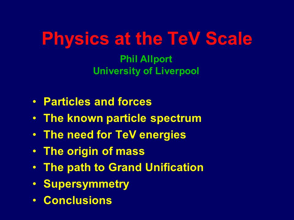 Precision studies of the top-quark Physics Opportunities at the TeV Scale Precision studies of the origin of mass Supersymmetry Grand Unification New spatial dimensions Strong Electroweak Symmetry Breaking Compositeness Leptoquarks Anomalous couplings GigaZ...