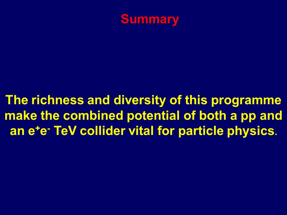 The Need for Precision LHC OnlyLHC + LC Supersymmetric Mass Terms (GeV) 0 Log 10 [Energy Scale (GeV)] TeV scale measurements 500 400 300 200 100 3579111315 U1U1 L1L1 E1E1 Does gravity mediate with the superworld