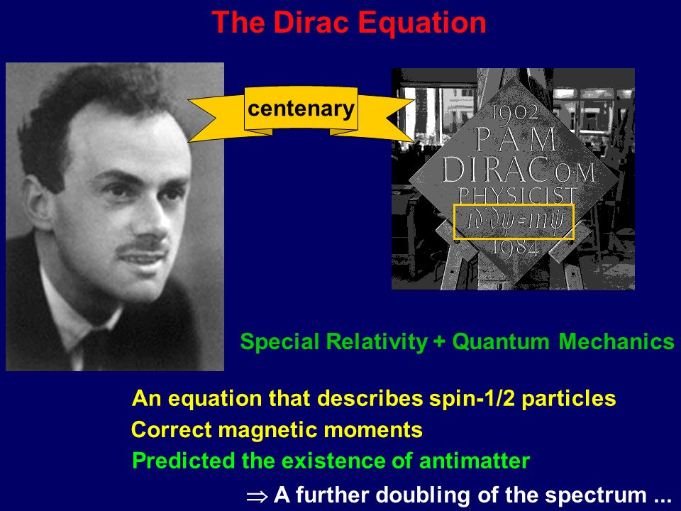 The Dirac Equation Special Relativity + Quantum Mechanics An equation that describes spin-1/2 particles Correct magnetic moments Predicted the existence of antimatter A further doubling of the spectrum...