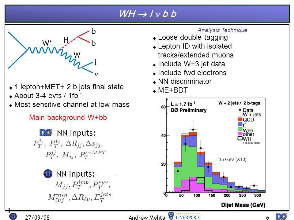7 WH l b b signal background signalbackground 27/09/08Andrew Mehta 1.7 2.7 Lum (fb -1 ) Obs.