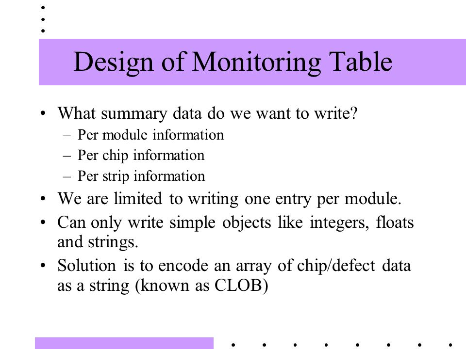 Design of Monitoring Table What summary data do we want to write.