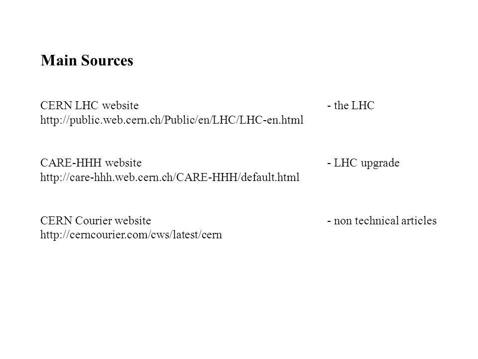 Main Sources CERN LHC website- the LHC http://public.web.cern.ch/Public/en/LHC/LHC-en.html CARE-HHH website- LHC upgrade http://care-hhh.web.cern.ch/C