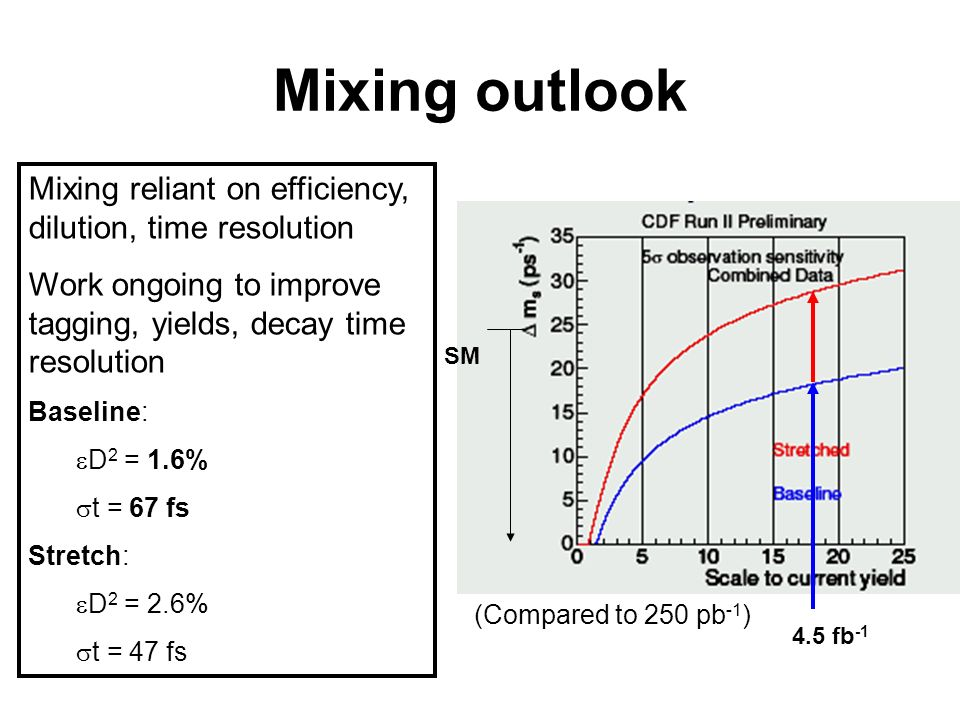 Mixing outlook Mixing reliant on efficiency, dilution, time resolution Work ongoing to improve tagging, yields, decay time resolution Baseline: D 2 = 1.6% t = 67 fs Stretch: D 2 = 2.6% t = 47 fs (Compared to 250 pb -1 ) SM 4.5 fb -1