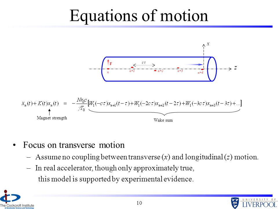 10 Wake sum Equations of motion Magnet strength z x n n+1n+2n+3 n+4 Focus on transverse motion –Assume no coupling between transverse (x) and longitudinal (z) motion.