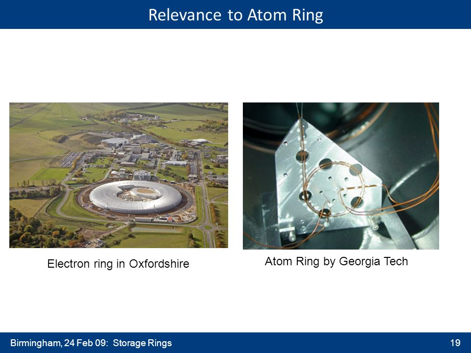 Birmingham, 24 Feb 09: Storage Rings19 Atom Ring by Georgia Tech Electron ring in Oxfordshire Relevance to Atom Ring