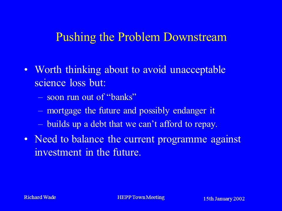 15th January 2002 Richard WadeHEPP Town Meeting Pushing the Problem Downstream Worth thinking about to avoid unacceptable science loss but: –soon run out of banks –mortgage the future and possibly endanger it –builds up a debt that we cant afford to repay.