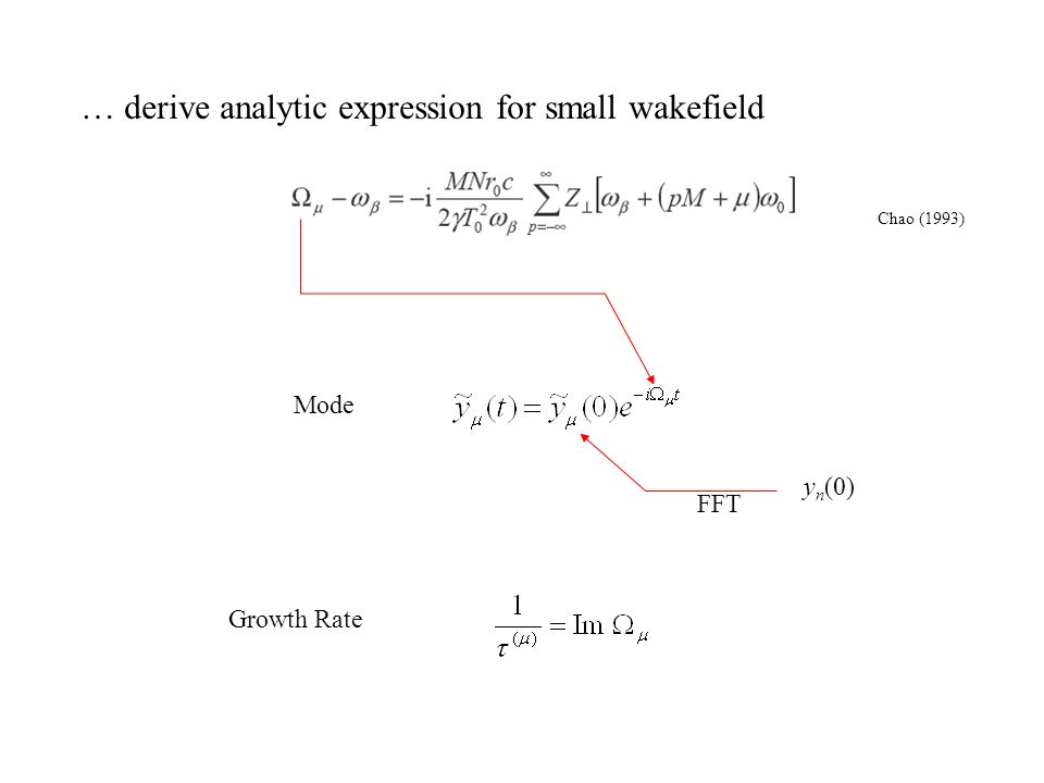 Growth Rate … derive analytic expression for small wakefield Chao (1993) Mode y n (0) FFT
