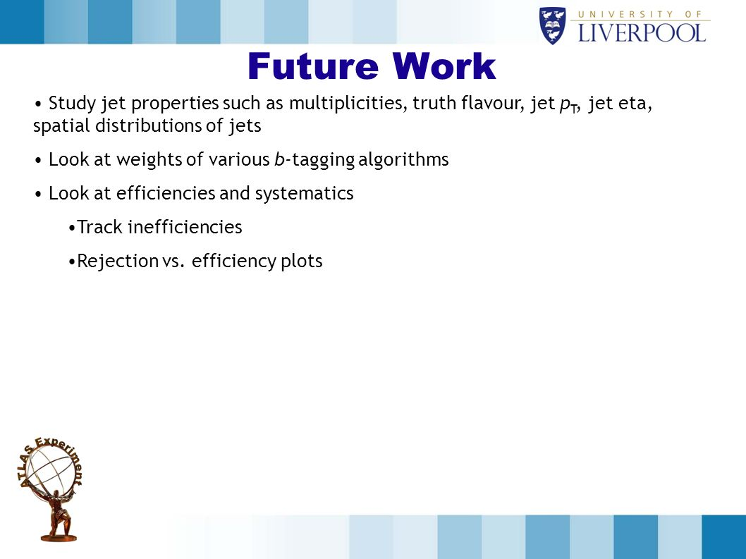 Future Work Study jet properties such as multiplicities, truth flavour, jet p T, jet eta, spatial distributions of jets Look at weights of various b-tagging algorithms Look at efficiencies and systematics Track inefficiencies Rejection vs.