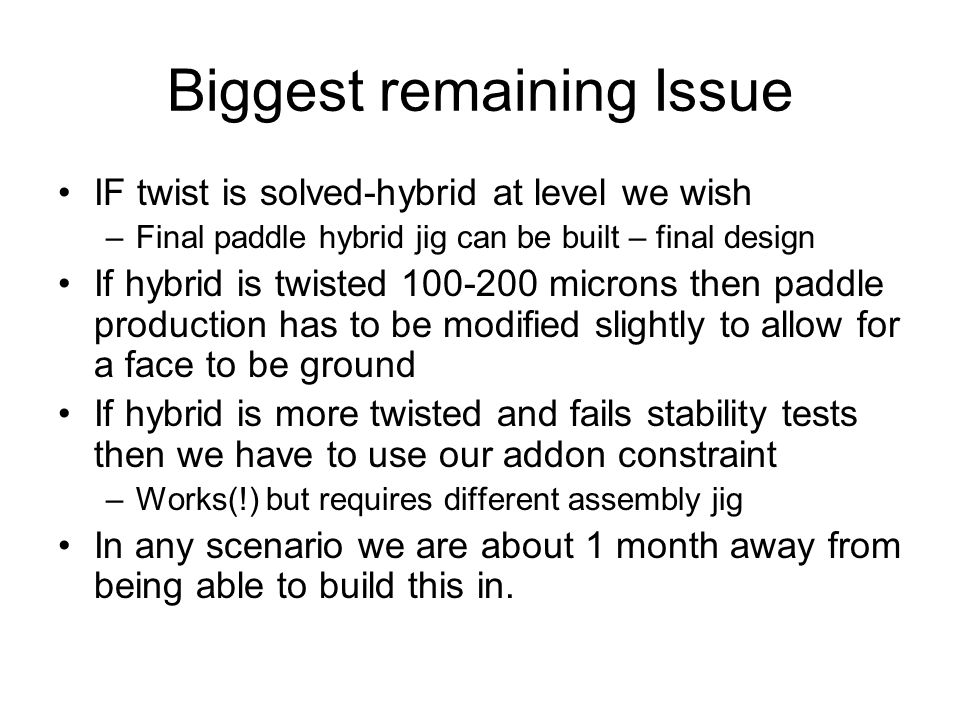 Biggest remaining Issue IF twist is solved-hybrid at level we wish –Final paddle hybrid jig can be built – final design If hybrid is twisted microns then paddle production has to be modified slightly to allow for a face to be ground If hybrid is more twisted and fails stability tests then we have to use our addon constraint –Works(!) but requires different assembly jig In any scenario we are about 1 month away from being able to build this in.
