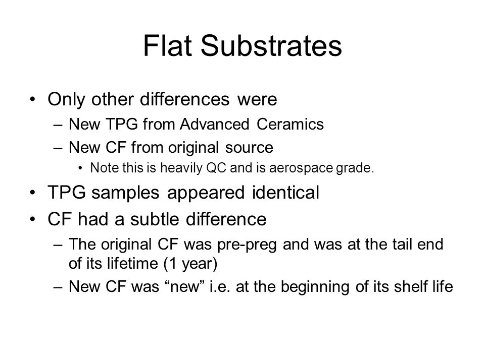 Flat Substrates Only other differences were –New TPG from Advanced Ceramics –New CF from original source Note this is heavily QC and is aerospace grade.