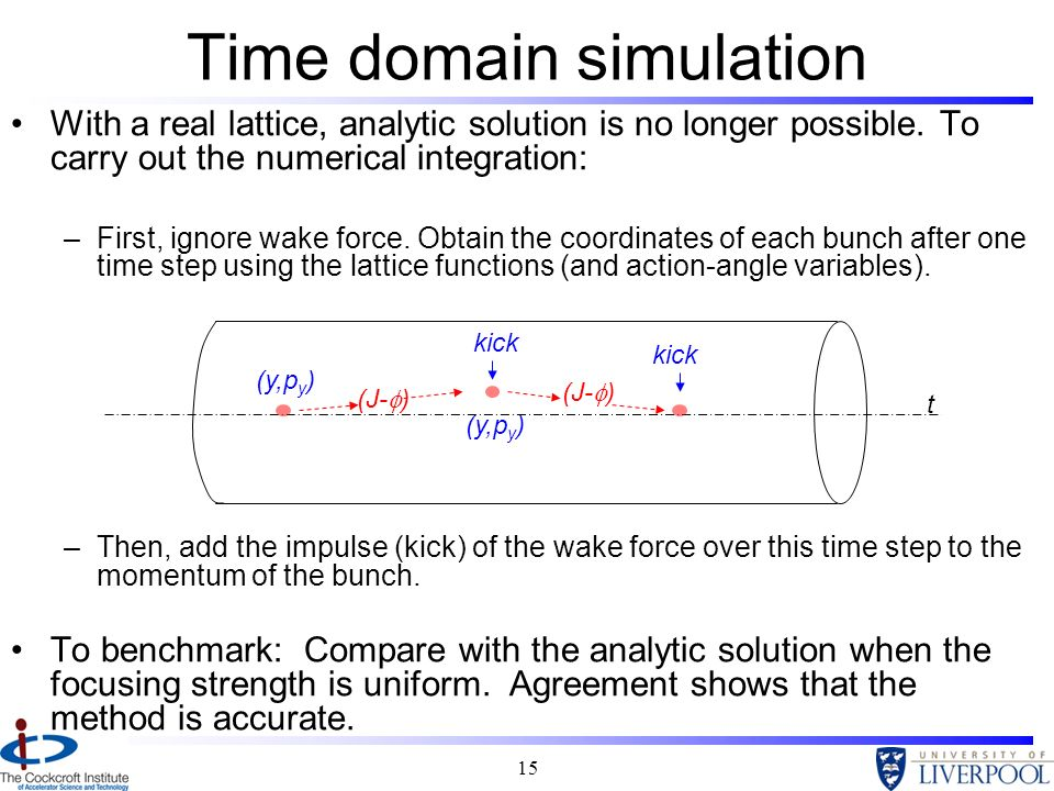 15 Time domain simulation With a real lattice, analytic solution is no longer possible. To carry out the numerical integration: –First, ignore wake fo