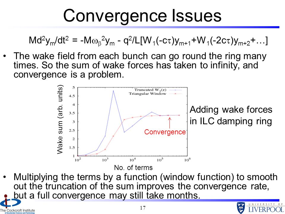 17 Md 2 y m /dt 2 = -M 2 y m - q 2 /L[W 1 (-c )y m+1 +W 1 (-2c )y m+2 +…] Convergence Issues No. of terms Wake sum (arb. units) Adding wake forces in