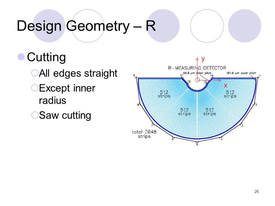 26 Design Geometry – R Cutting All edges straight Except inner radius Saw cutting y x