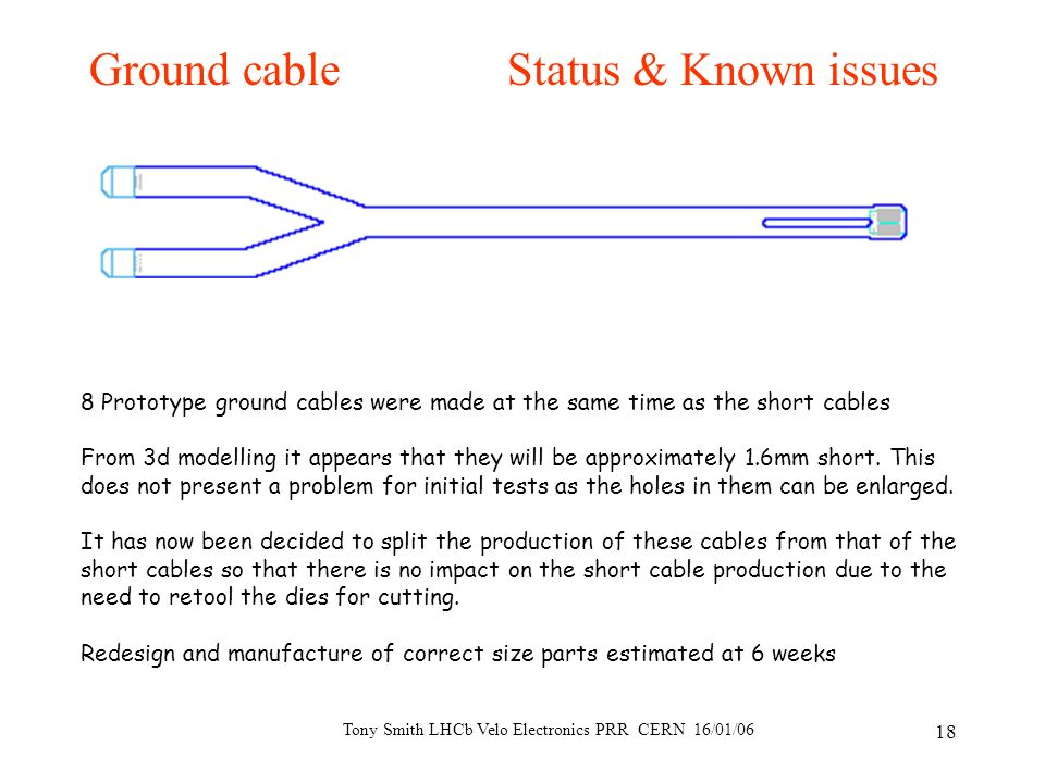 Tony Smith LHCb Velo Electronics PRR CERN 16/01/06 18 Ground cableStatus & Known issues 8 Prototype ground cables were made at the same time as the sh