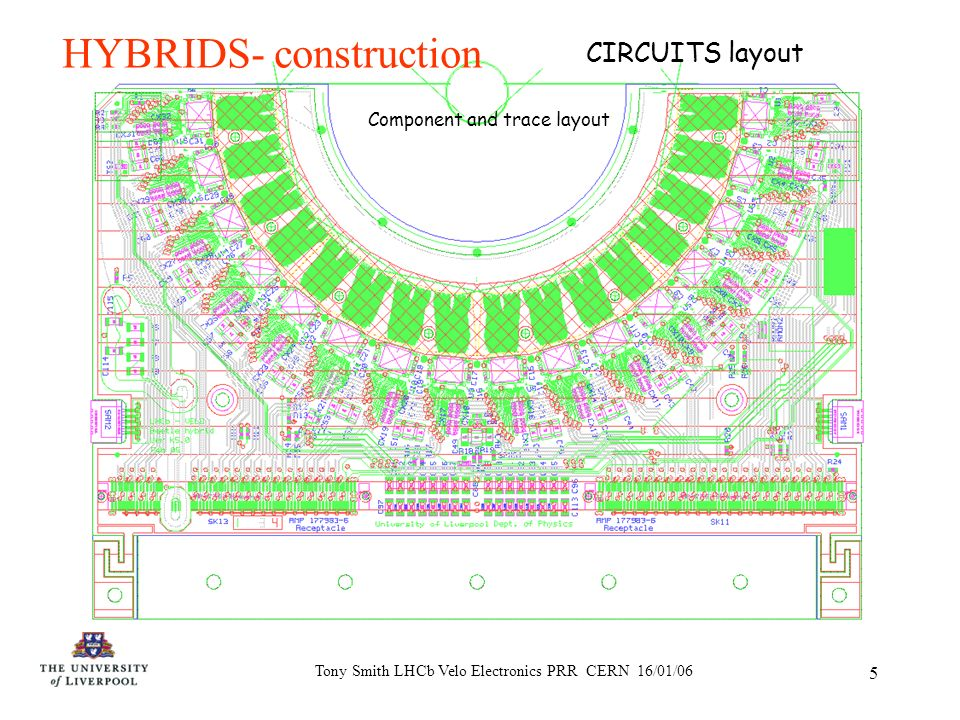 Tony Smith LHCb Velo Electronics PRR CERN 16/01/06 5 HYBRIDS- construction Component and trace layout CIRCUITS layout