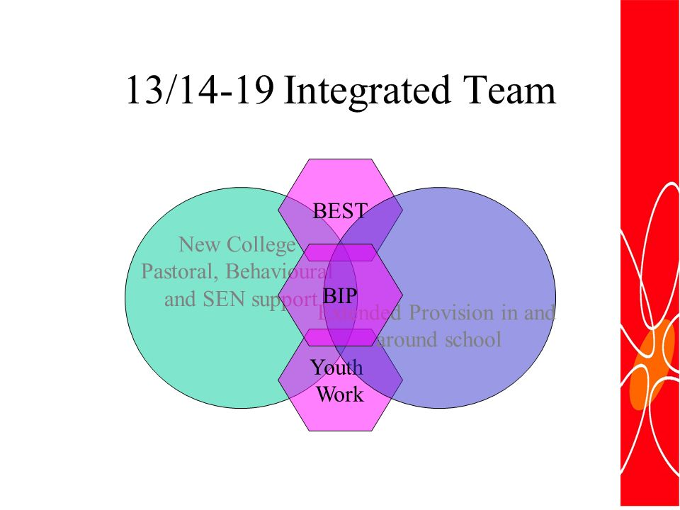 13/14-19 Integrated Team New College Pastoral, Behavioural and SEN support BEST Youth Work Extended Provision in and around school BIP