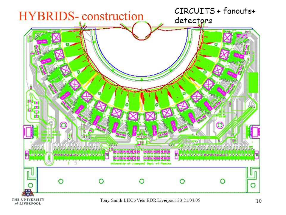 Tony Smith LHCb Velo EDR Liverpool 20-21/04/05 10 HYBRIDS- construction CIRCUITS + fanouts+ detectors