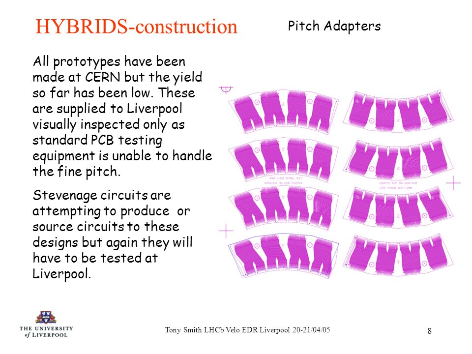 Tony Smith LHCb Velo EDR Liverpool 20-21/04/05 8 HYBRIDS-construction All prototypes have been made at CERN but the yield so far has been low.