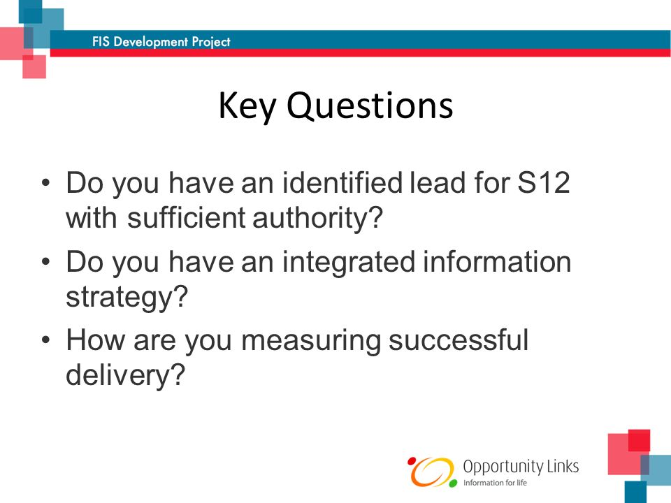 Key Questions Do you have an identified lead for S12 with sufficient authority.