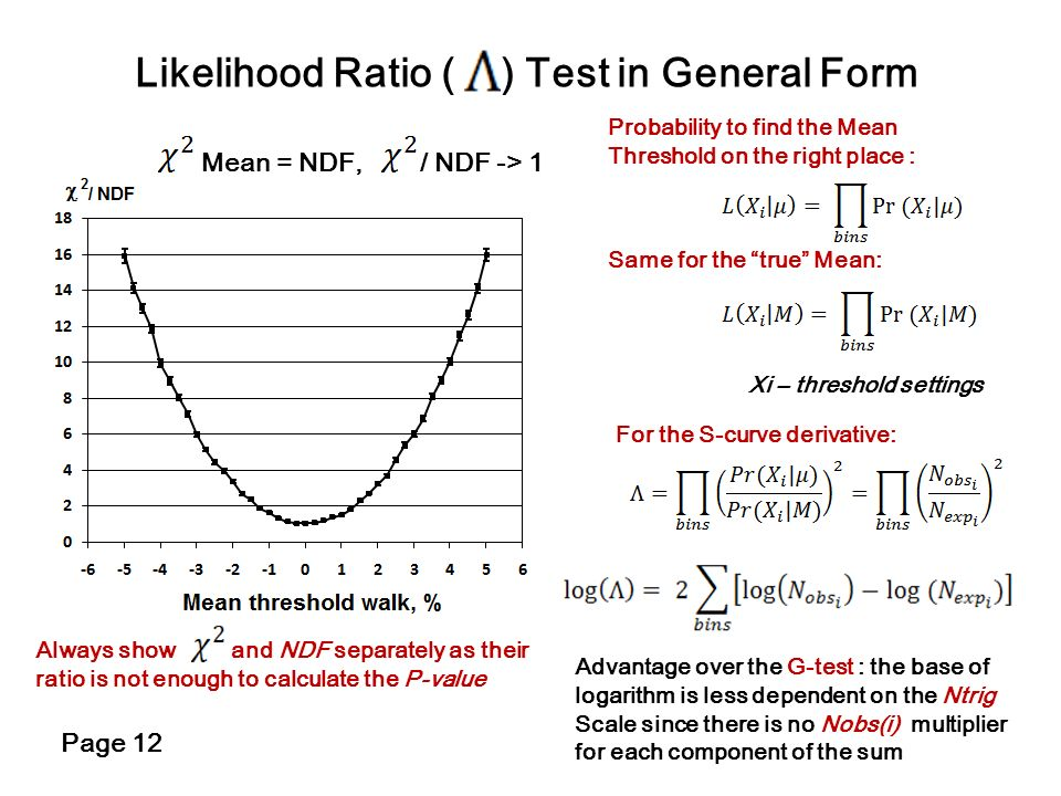 Likelihood Ratio ( ) Test in General Form Mean = NDF, / NDF -> 1 Always show and NDF separately as their ratio is not enough to calculate the P-value