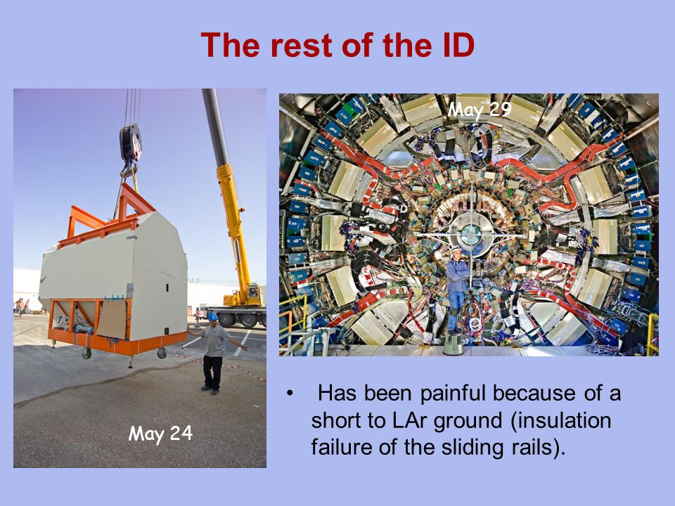 The rest of the ID Has been painful because of a short to LAr ground (insulation failure of the sliding rails).