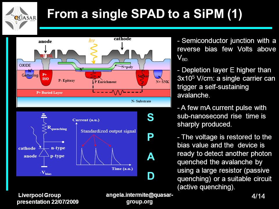 Liverpool Group presentation 22/07/2009 angela.intermite@quasar- group.org From a single SPAD to a SiPM (1) OXIDE METAL N+N+ N + Gettering P+ Sinker -