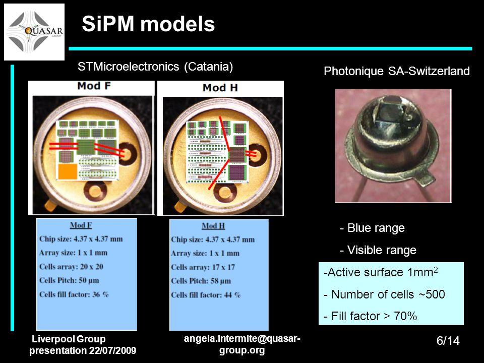 Liverpool Group presentation 22/07/2009 angela.intermite@quasar- group.org SiPM models STMicroelectronics (Catania) Photonique SA-Switzerland - Blue r