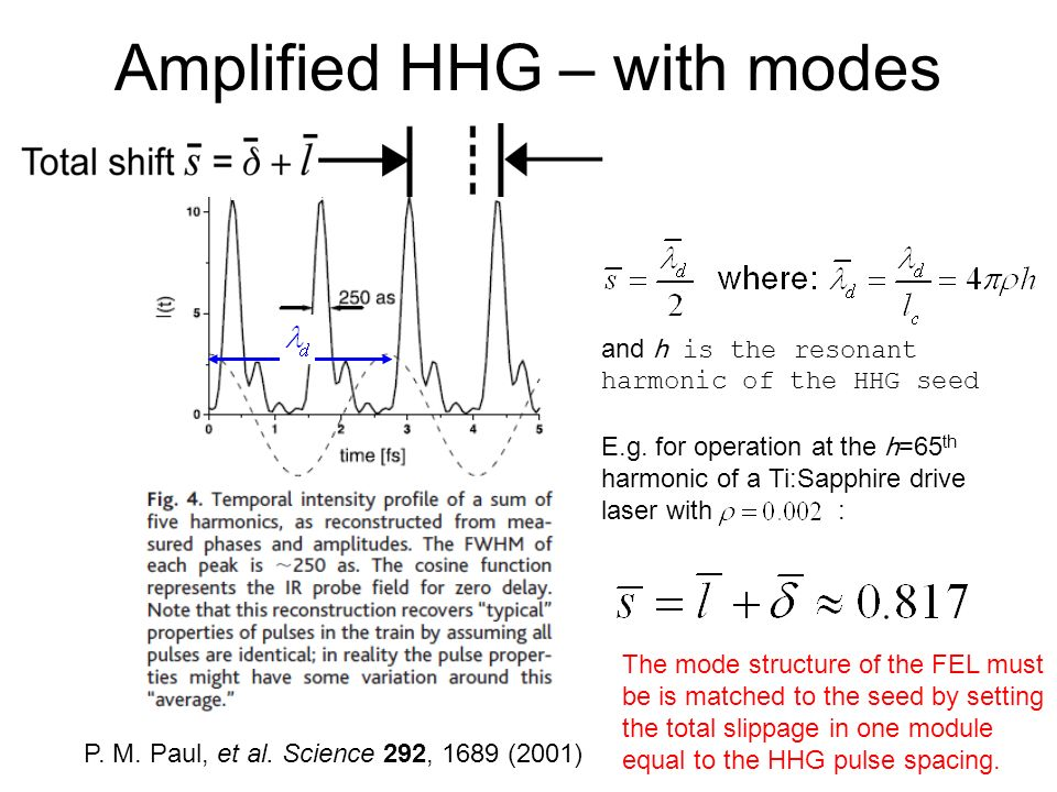 P. M. Paul, et al. Science 292, 1689 (2001) E.g. for operation at the h=65 th harmonic of a Ti:Sapphire drive laser with : and h is the resonant harmo