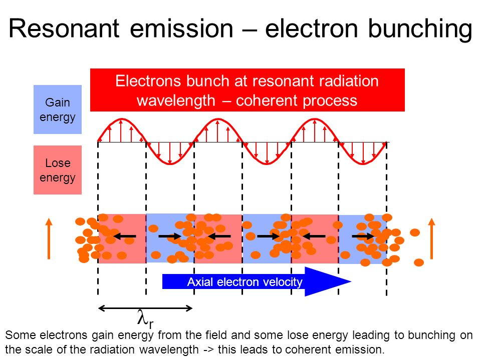 Width of radiation pulse envelope The pulses towards the head of the train see fresh electrons - which are then disrupted, inhibiting the growth of pulses towards the tail.