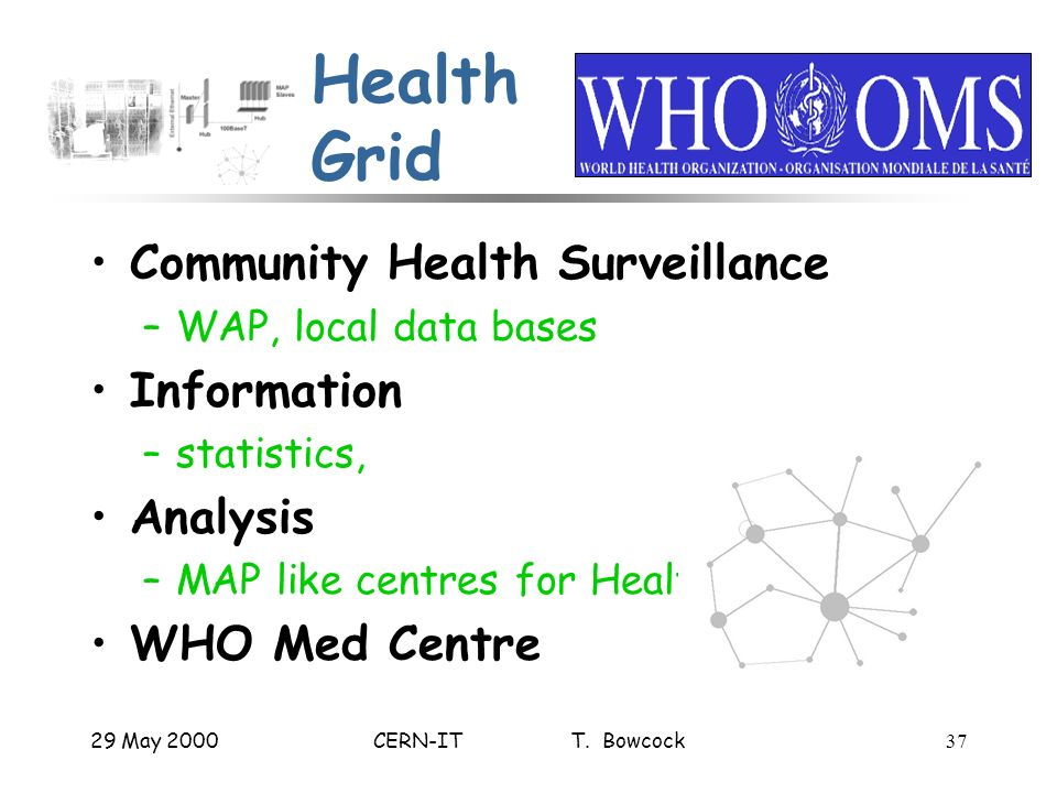 29 May 2000CERN-IT T. Bowcock37 Health Grid Community Health Surveillance –WAP, local data bases Information –statistics, Analysis –MAP like centres f