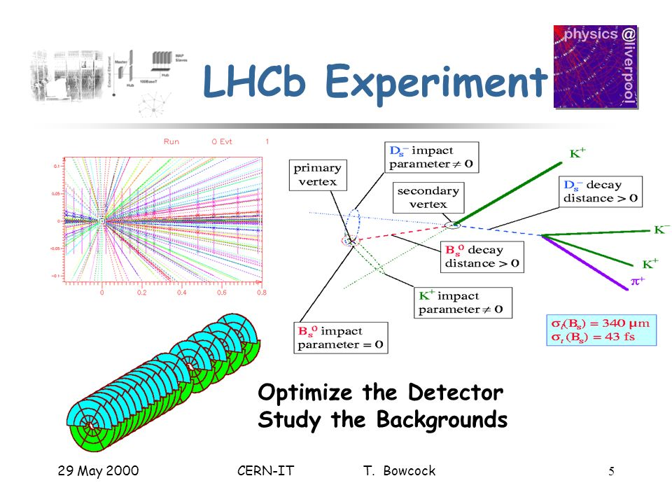 29 May 2000CERN-IT T. Bowcock5 LHCb Experiment Optimize the Detector Study the Backgrounds